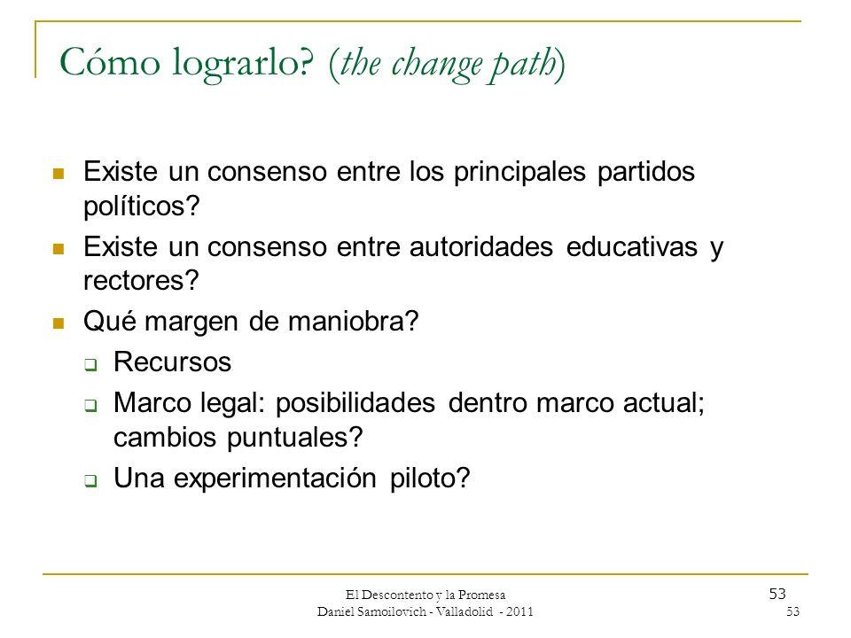 El Descontento y la Promesa Daniel Samoilovich - Valladolid - 2011 53 Cómo lograrlo? (the change path) Existe un consenso entre los principales partid