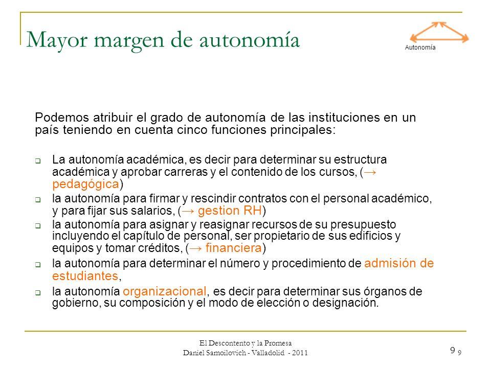 El Descontento y la Promesa Daniel Samoilovich - Valladolid - 2011 9 9 Mayor margen de autonomía Podemos atribuir el grado de autonomía de las institu