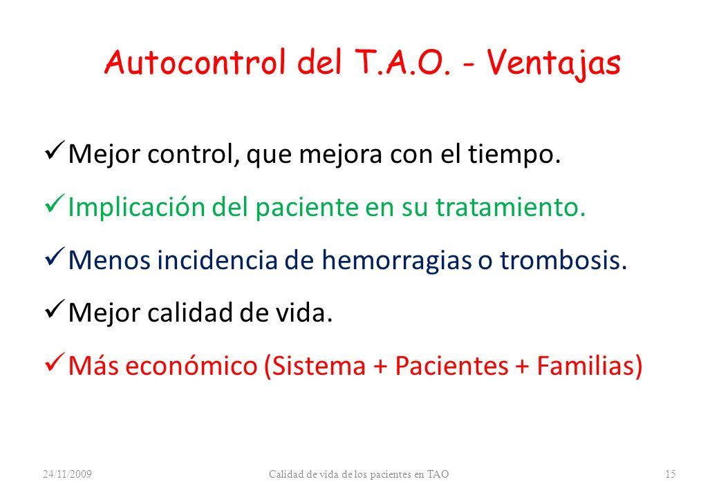 Autocontrol del T.A.O. - Ventajas Mejor control, que mejora con el tiempo. Implicación del paciente en su tratamiento. Menos incidencia de hemorragias
