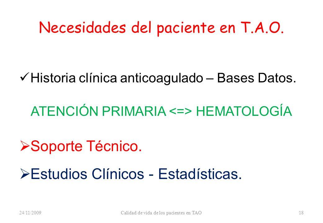 Necesidades del paciente en T.A.O. Historia clínica anticoagulado – Bases Datos. ATENCIÓN PRIMARIA HEMATOLOGÍA Soporte Técnico. Estudios Clínicos - Es
