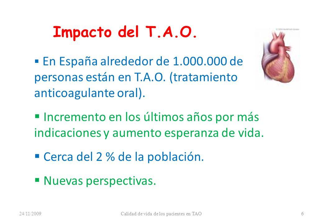 Impacto del T.A.O. En España alrededor de 1.000.000 de personas están en T.A.O. (tratamiento anticoagulante oral). Incremento en los últimos años por