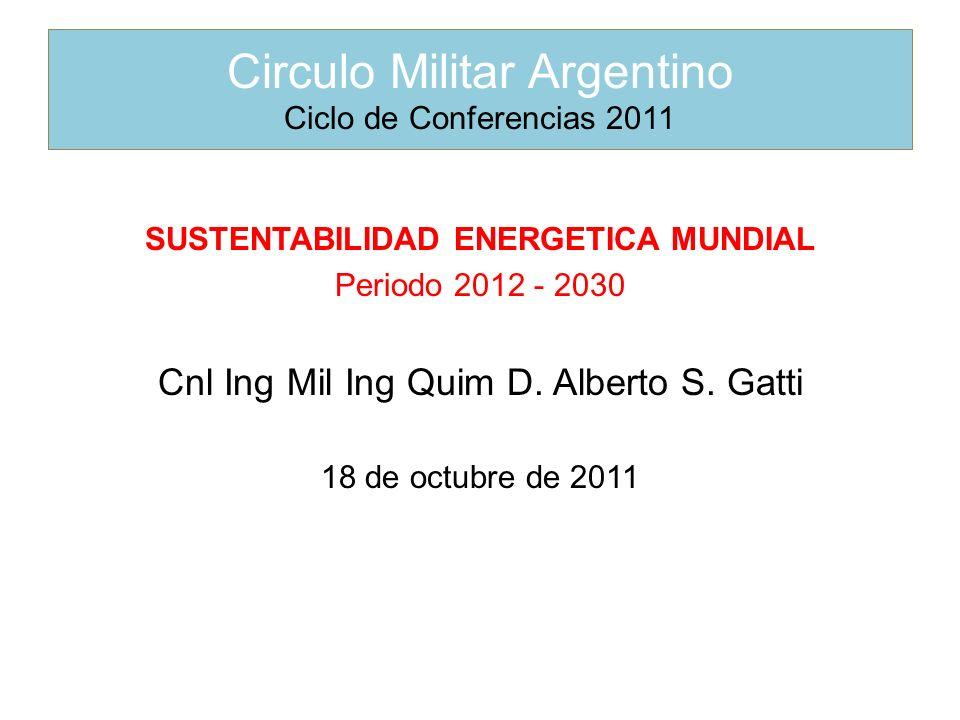 SUSTENTABILIDAD ENERGETICA MUNDIAL Periodo 2012 - 2030 Cnl Ing Mil Ing Quim D.