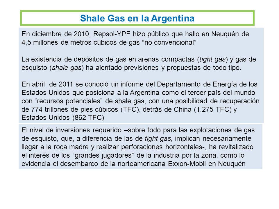 En diciembre de 2010, Repsol-YPF hizo público que hallo en Neuquén de 4,5 millones de metros cúbicos de gas no convencional La existencia de depósitos de gas en arenas compactas (tight gas) y gas de esquisto (shale gas) ha alentado previsiones y propuestas de todo tipo.