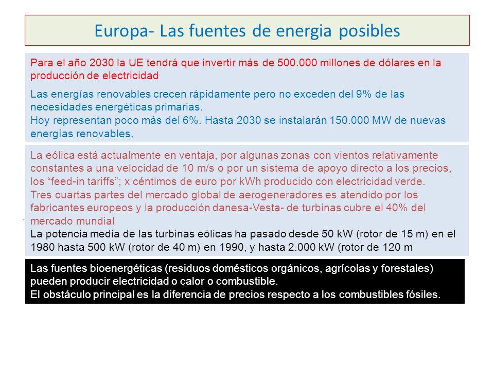 Europa- Las fuentes de energia posibles Para el año 2030 la UE tendrá que invertir más de 500.000 millones de dólares en la producción de electricidad.