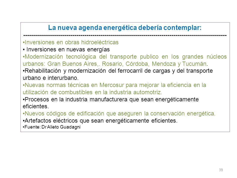 39 La nueva agenda energética debería contemplar: ------------------------------------------------------------------------------------------------------- Inversiones en obras hidroeléctricas Inversiones en nuevas energías Modernización tecnológica del transporte publico en los grandes núcleos urbanos: Gran Buenos Aires,.