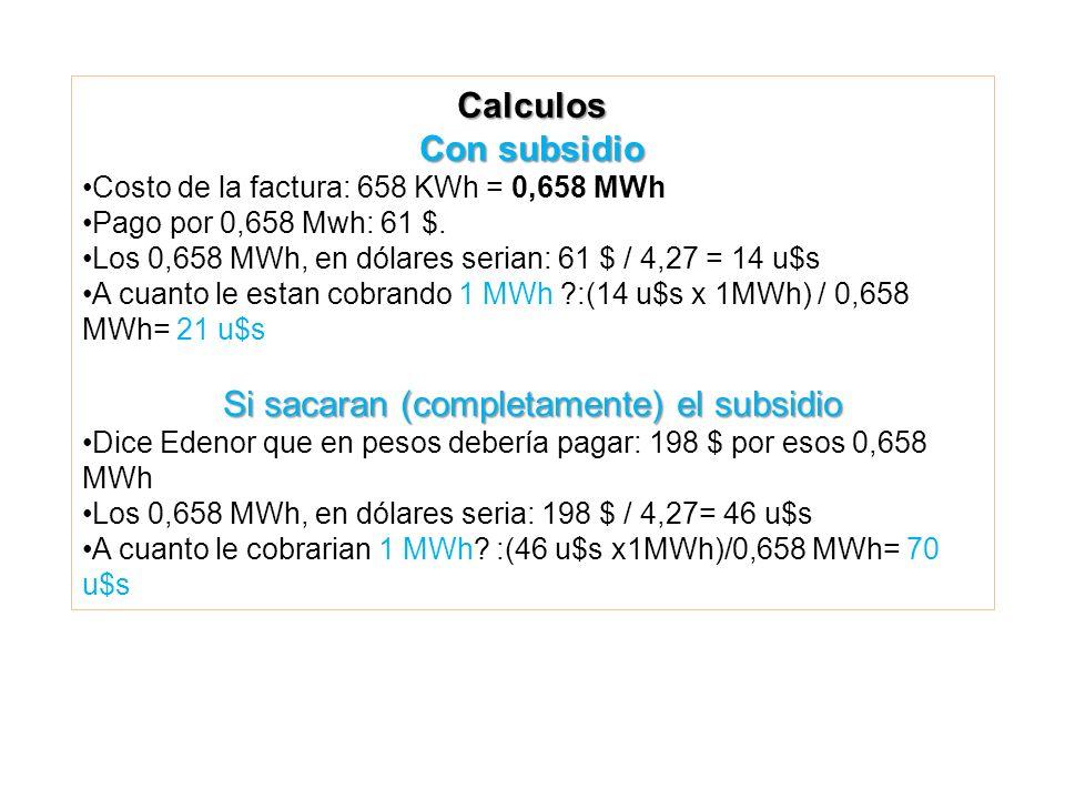 Calculos Con subsidio Costo de la factura: 658 KWh = 0,658 MWh Pago por 0,658 Mwh: 61 $.