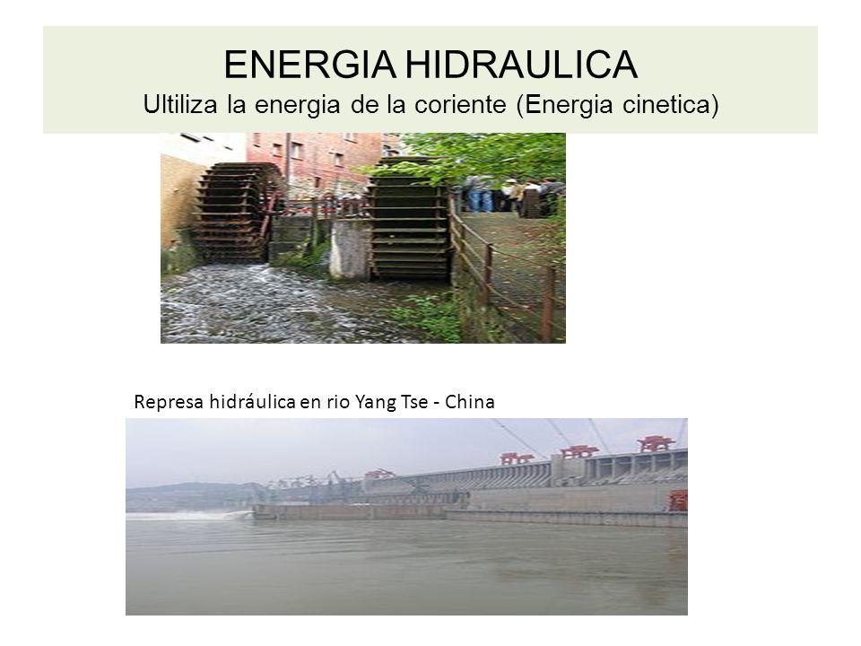 ENERGIA HIDRAULICA Ultiliza la energia de la coriente (Energia cinetica) Represa hidráulica en rio Yang Tse - China