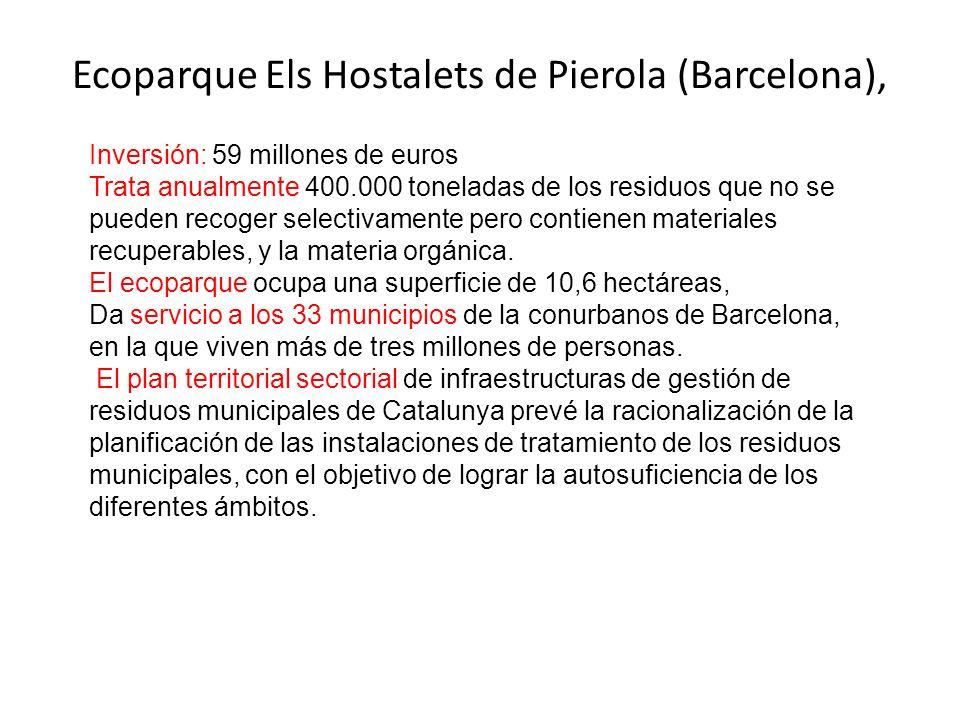 Ecoparque Els Hostalets de Pierola (Barcelona), Inversión: 59 millones de euros Trata anualmente 400.000 toneladas de los residuos que no se pueden recoger selectivamente pero contienen materiales recuperables, y la materia orgánica.