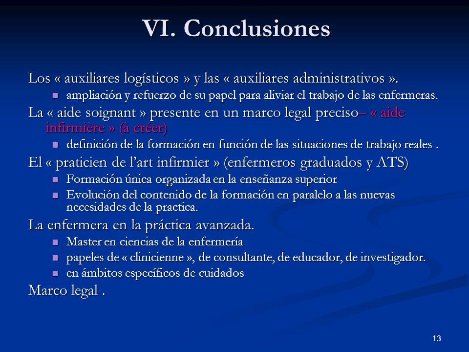 13 VI.Conclusiones Los « auxiliares logísticos » y las « auxiliares administrativos ».