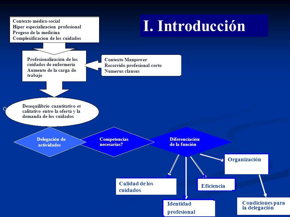 3 I. Introduction : Organisation des soins Conditions pour délégation Organización Contexto médico-social Hiper especializacion profesional Progeso de