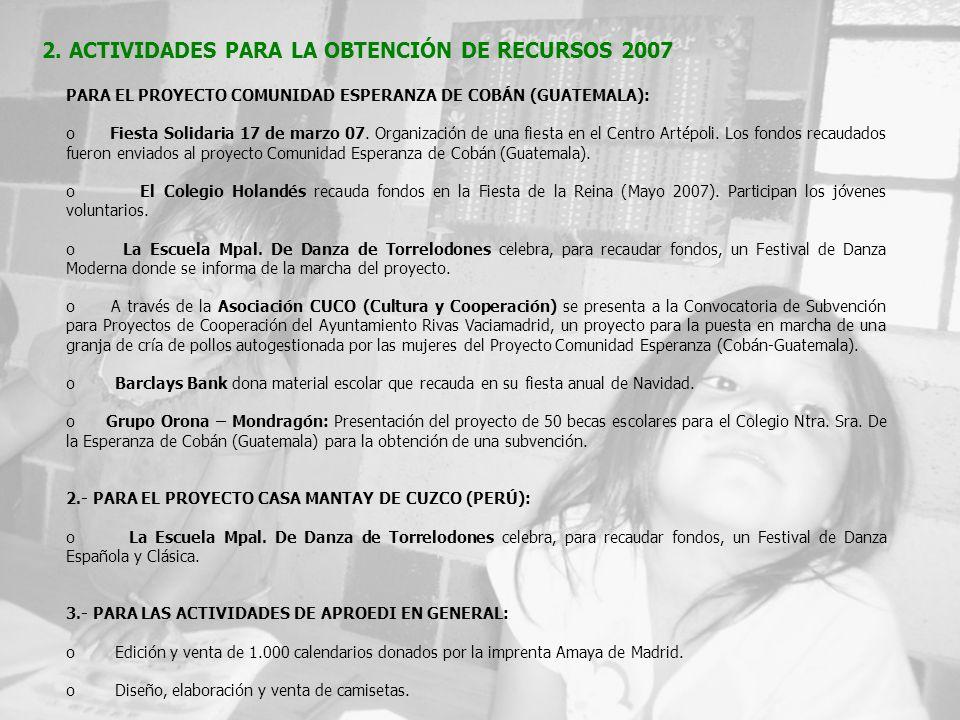 PARA EL PROYECTO COMUNIDAD ESPERANZA DE COBÁN (GUATEMALA): o Fiesta Solidaria 17 de marzo 07.