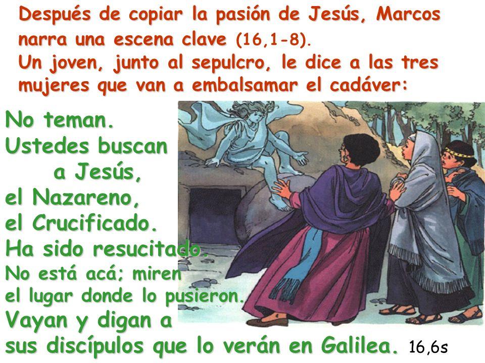 Después de copiar la pasión de Jesús, Marcos narra una escena clave Un joven, junto al sepulcro, le dice a las tres mujeres que van a embalsamar el ca