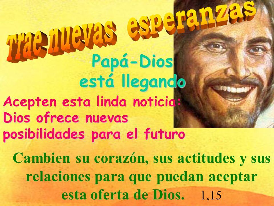 Papá-Dios está llegando Cambien su corazón, sus actitudes y sus relaciones para que puedan aceptar esta oferta de Dios.