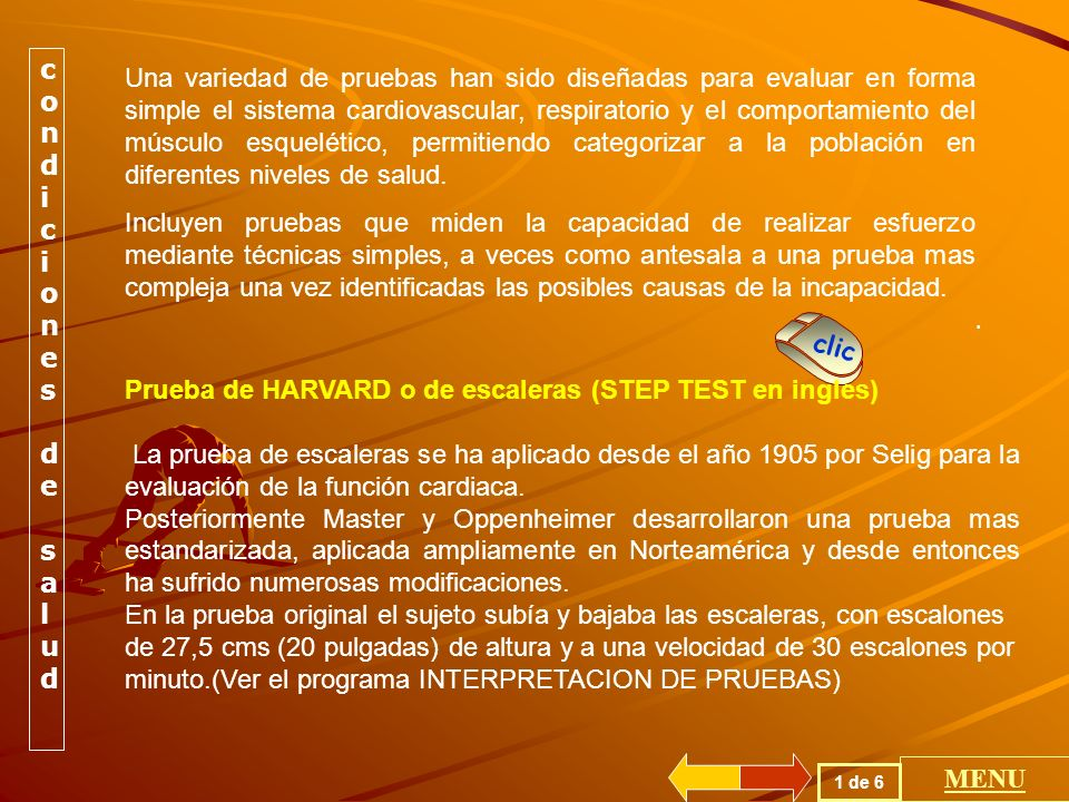 POR SU FINALIDAD EVALUA CONDICIONES GENERALES DE SALUD GENERA BRONCOCONSTRICCION ESTUDIA LA SATURACION DE LA HEMOGLOBINA EVALUA POSIBLE ENFERMEDAD CORONARIA EVALUA EL SISTEMA CARDIOPULMONAR POR SU FINALIDAD EVALUA CONDICIONES GENERALES DE SALUD GENERA BRONCOCONSTRICCION ESTUDIA LA SATURACION DE LA HEMOGLOBINA EVALUA POSIBLE ENFERMEDAD CORONARIA EVALUA EL SISTEMA CARDIOPULMONAR TIPOS DE PRUEBAS MENU GENERAL
