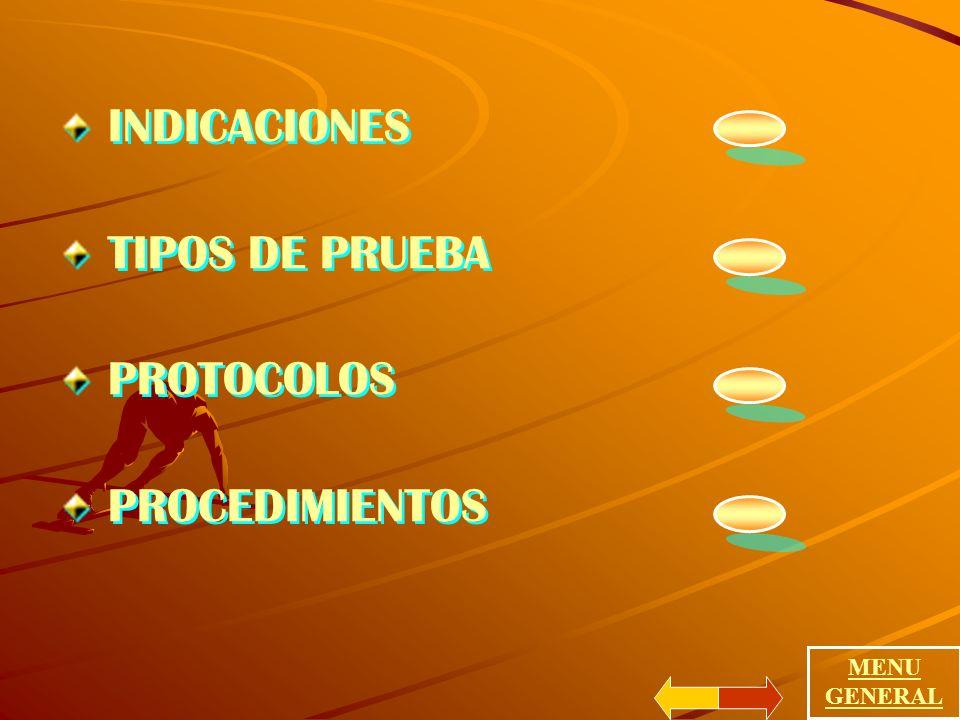 INDICACIONES TIPOS DE PRUEBA PROTOCOLOS PROCEDIMIENTOS INDICACIONES TIPOS DE PRUEBA PROTOCOLOS PROCEDIMIENTOS MENU GENERAL