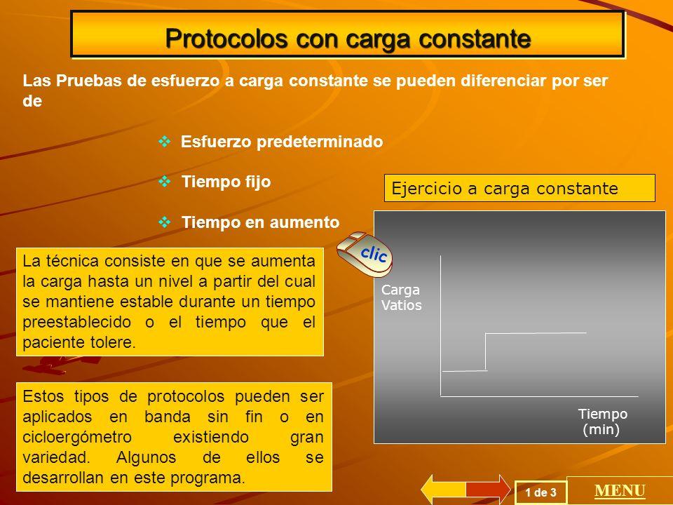 Protocolos con carga progresiva La prueba de esfuerzo progresiva incremental en la cual la carga de trabajo es incrementada cada 1 a 3 minutos y constituye la forma escalonada o continua en forma de rampa.