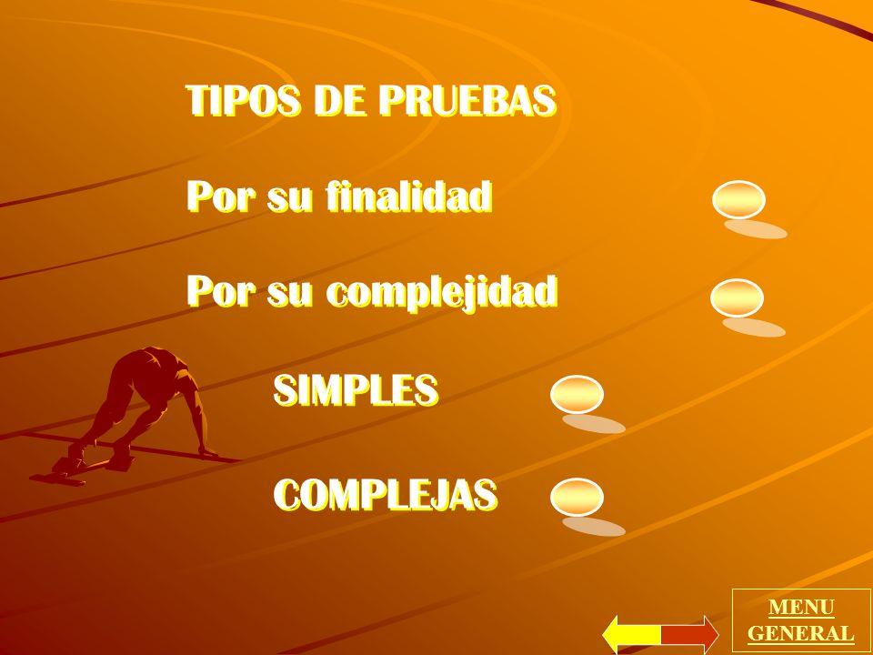 TIPOS DE PRUEBAS Por su finalidad Por su complejidad SIMPLES COMPLEJAS Por su finalidad Por su complejidad SIMPLES COMPLEJAS MENU GENERAL