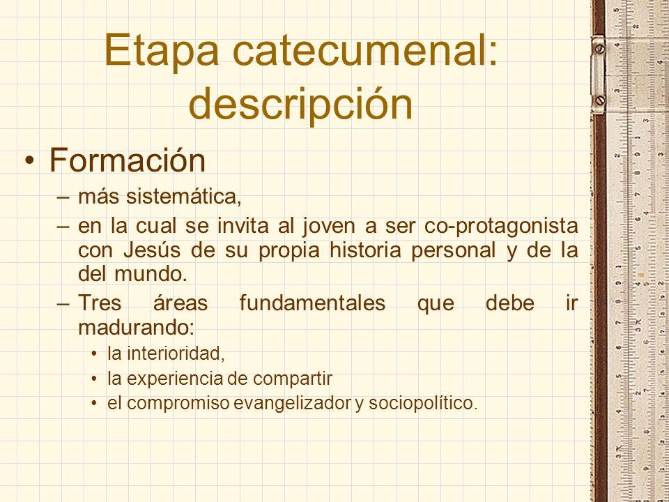 Etapa catecumenal: descripción Formación –más sistemática, –en la cual se invita al joven a ser co-protagonista con Jesús de su propia historia person
