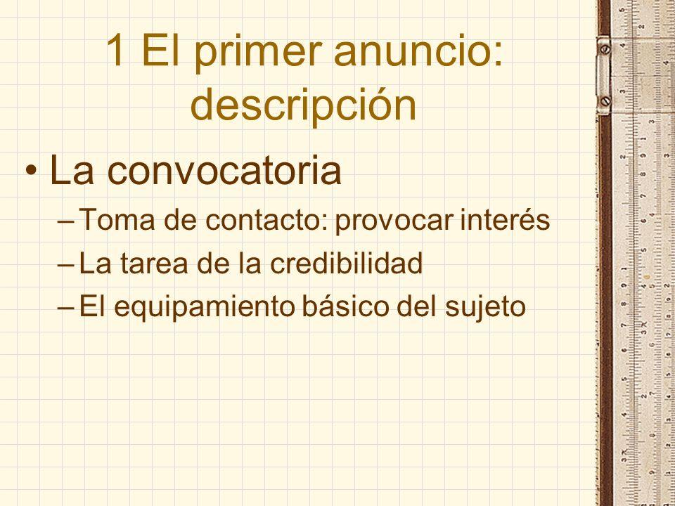 1 El primer anuncio: descripción La convocatoria –Toma de contacto: provocar interés –La tarea de la credibilidad –El equipamiento básico del sujeto