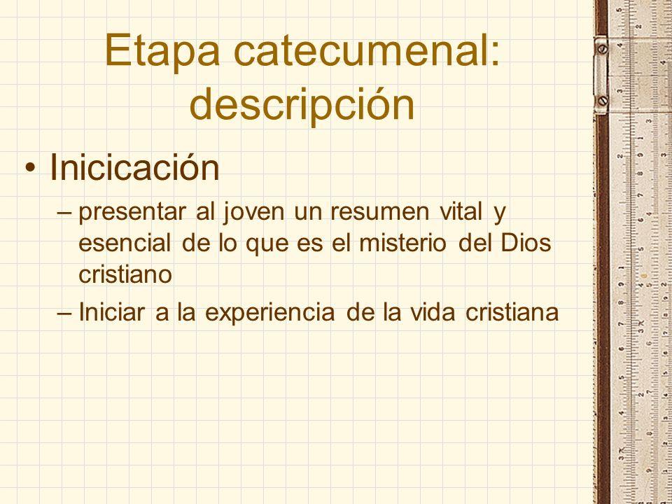 Etapa catecumenal: descripción Inicicación –presentar al joven un resumen vital y esencial de lo que es el misterio del Dios cristiano –Iniciar a la e