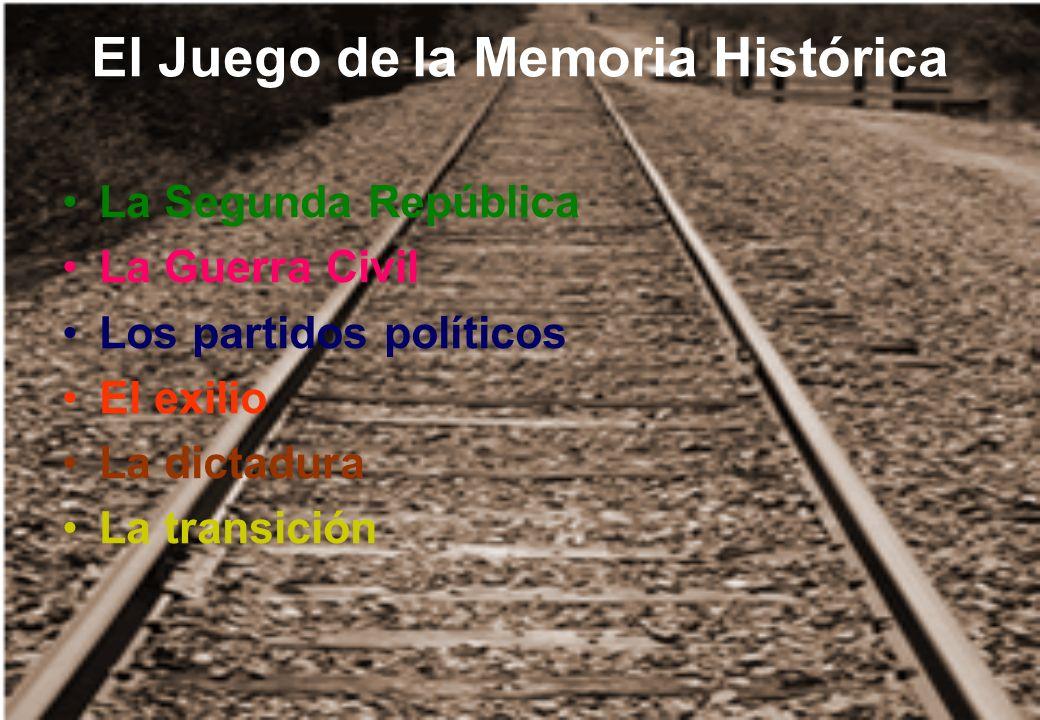 El Juego de la Memoria Histórica La Segunda República La Guerra Civil Los partidos políticos El exilio La dictadura La transición