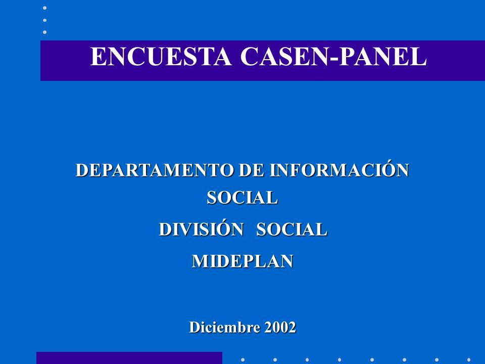 DEPARTAMENTO DE INFORMACIÓN SOCIAL DIVISIÓN SOCIAL MIDEPLAN Diciembre 2002 ENCUESTA CASEN-PANEL