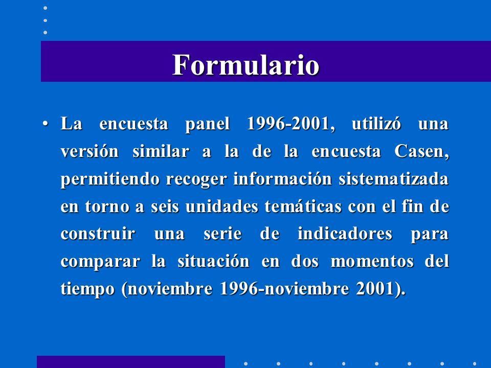 Formulario La encuesta panel 1996-2001, utilizó una versión similar a la de la encuesta Casen, permitiendo recoger información sistematizada en torno a seis unidades temáticas con el fin de construir una serie de indicadores para comparar la situación en dos momentos del tiempo (noviembre 1996-noviembre 2001).La encuesta panel 1996-2001, utilizó una versión similar a la de la encuesta Casen, permitiendo recoger información sistematizada en torno a seis unidades temáticas con el fin de construir una serie de indicadores para comparar la situación en dos momentos del tiempo (noviembre 1996-noviembre 2001).