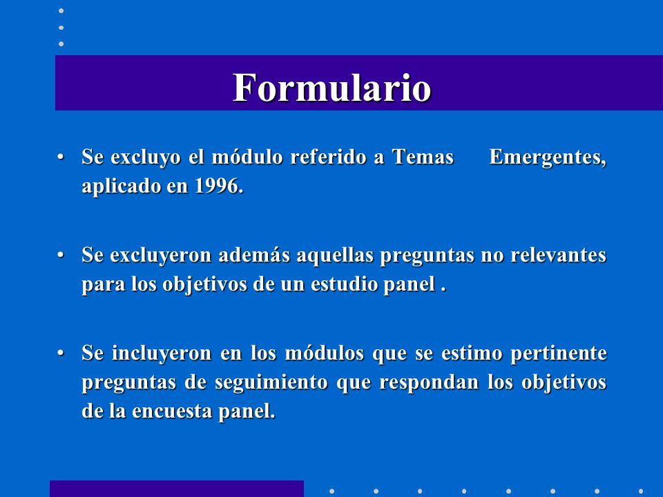 Formulario Se excluyo el módulo referido a Temas Emergentes, aplicado en 1996.Se excluyo el módulo referido a Temas Emergentes, aplicado en 1996.