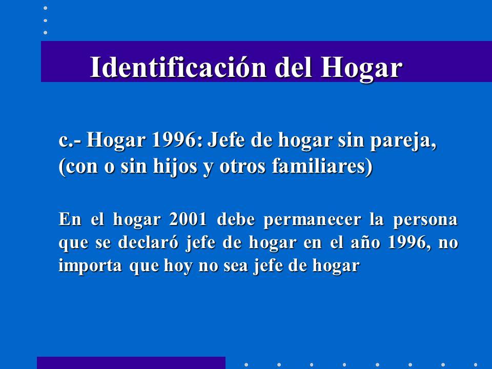 Identificación del Hogar c.- Hogar 1996: Jefe de hogar sin pareja, (con o sin hijos y otros familiares) En el hogar 2001 debe permanecer la persona que se declaró jefe de hogar en el año 1996, no importa que hoy no sea jefe de hogar