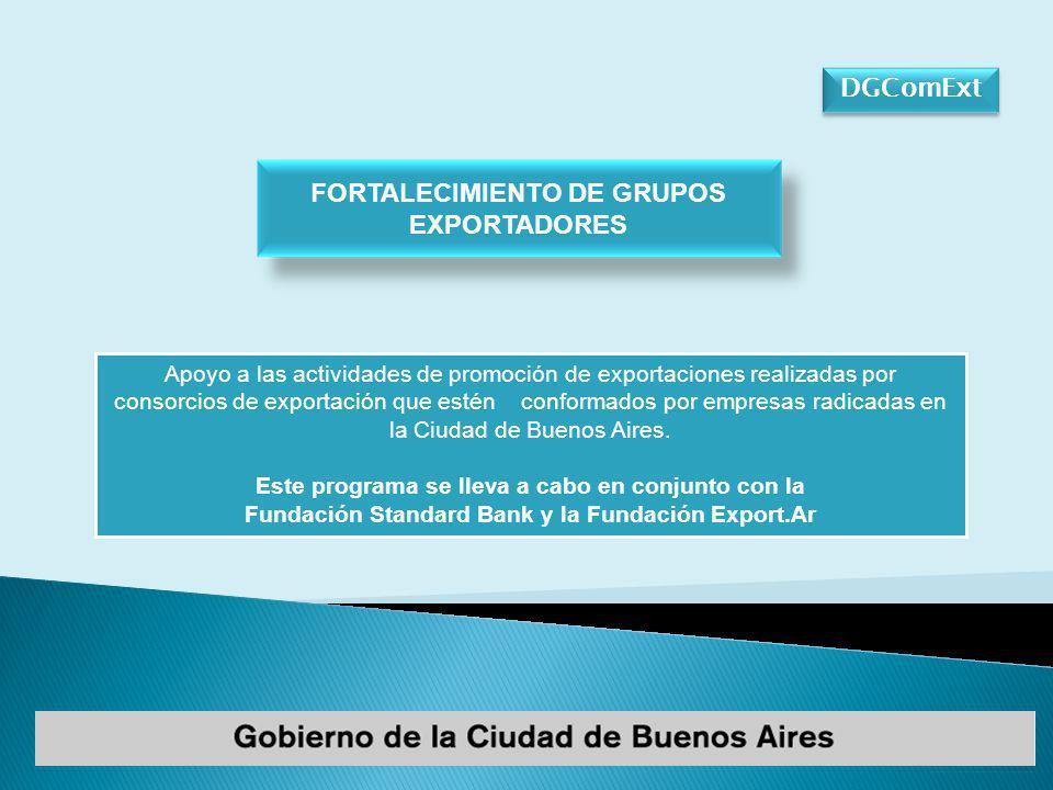 DGComExt Apoyo a las actividades de promoción de exportaciones realizadas por consorcios de exportación que estén conformados por empresas radicadas en la Ciudad de Buenos Aires.