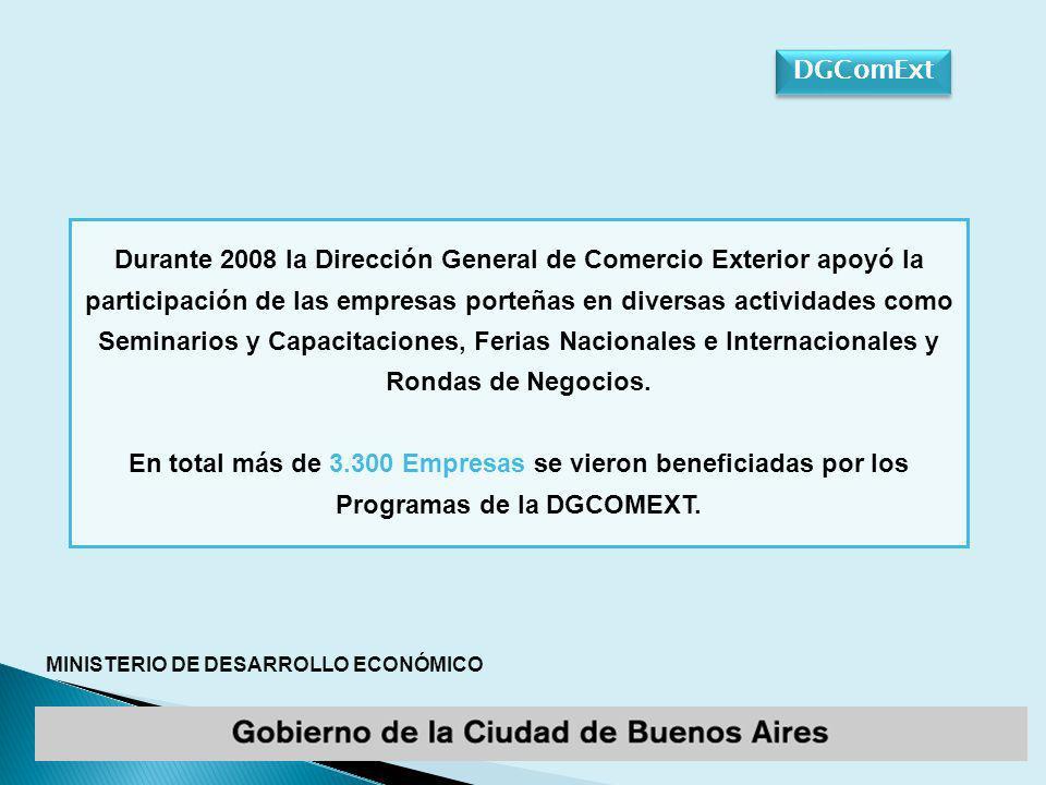 MINISTERIO DE DESARROLLO ECONÓMICO Durante 2008 la Dirección General de Comercio Exterior apoyó la participación de las empresas porteñas en diversas actividades como Seminarios y Capacitaciones, Ferias Nacionales e Internacionales y Rondas de Negocios.