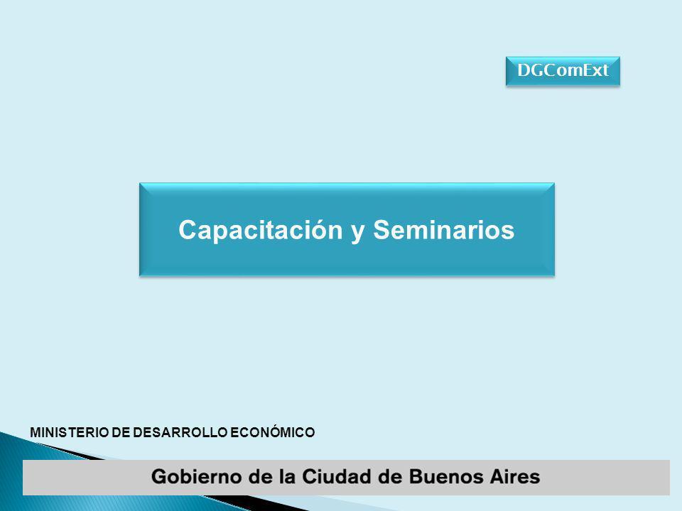 MINISTERIO DE DESARROLLO ECONÓMICO DGComExt Capacitación y Seminarios