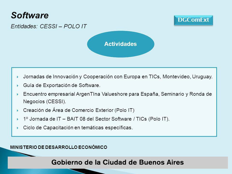 MINISTERIO DE DESARROLLO ECONÓMICO DGComExt Software Entidades: CESSI – POLO IT Jornadas de Innovación y Cooperación con Europa en TICs, Montevideo, Uruguay.