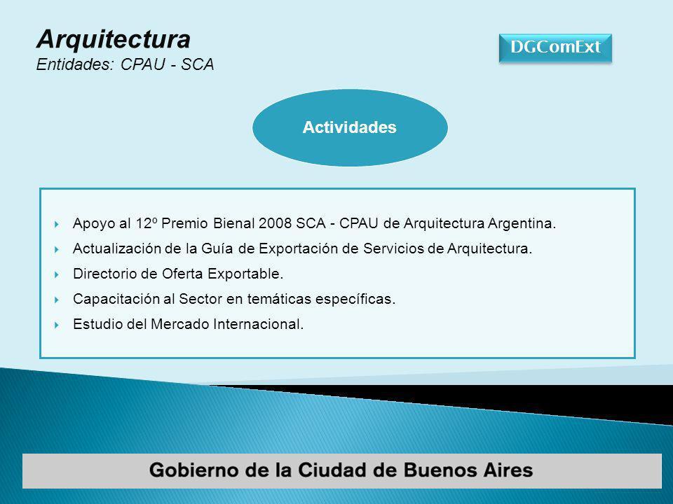DGComExt Arquitectura Entidades: CPAU - SCA Apoyo al 12º Premio Bienal 2008 SCA - CPAU de Arquitectura Argentina.