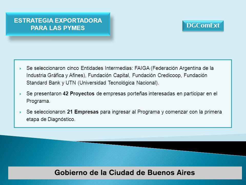 DGComExt Se seleccionaron cinco Entidades Intermedias: FAIGA (Federación Argentina de la Industria Gráfica y Afines), Fundación Capital, Fundación Credicoop, Fundación Standard Bank y UTN (Universidad Tecnológica Nacional).