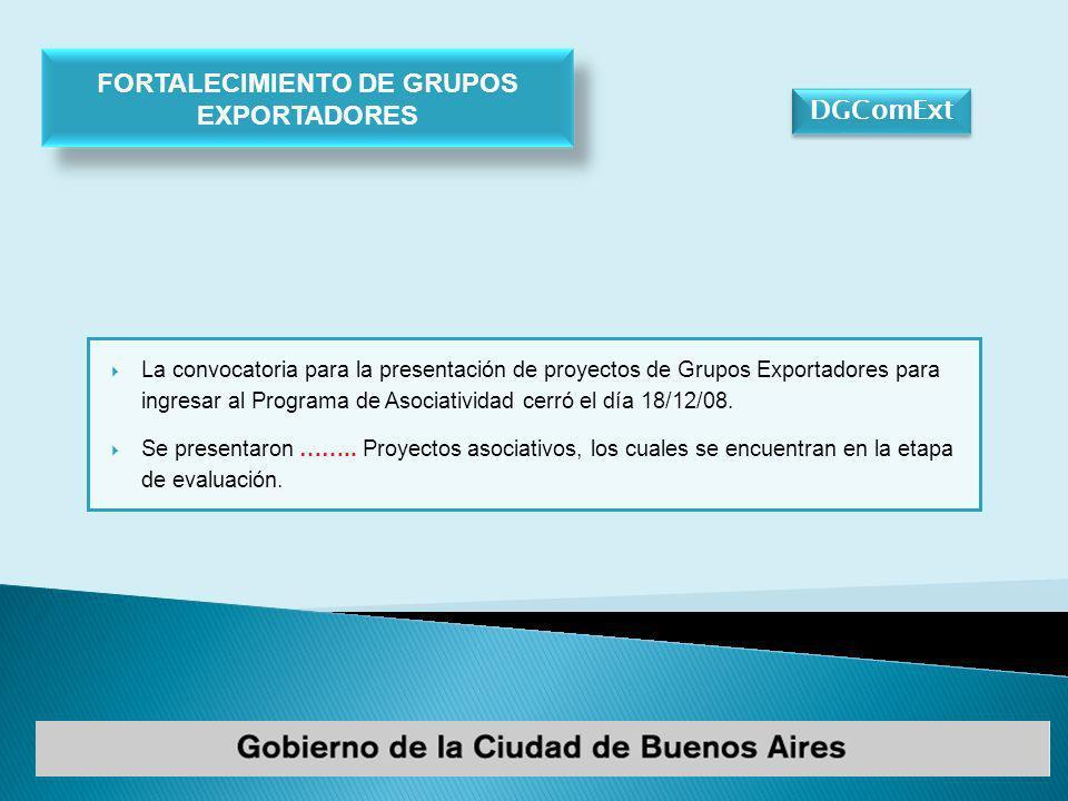 DGComExt La convocatoria para la presentación de proyectos de Grupos Exportadores para ingresar al Programa de Asociatividad cerró el día 18/12/08.