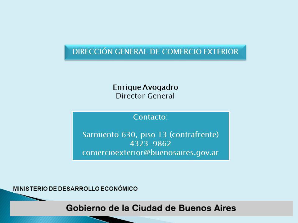 MINISTERIO DE DESARROLLO ECONÓMICO Enrique Avogadro Director General Contacto: Sarmiento 630, piso 13 (contrafrente) 4323-9862 comercioexterior@buenosaires.gov.ar DIRECCIÓN GENERAL DE COMERCIO EXTERIOR