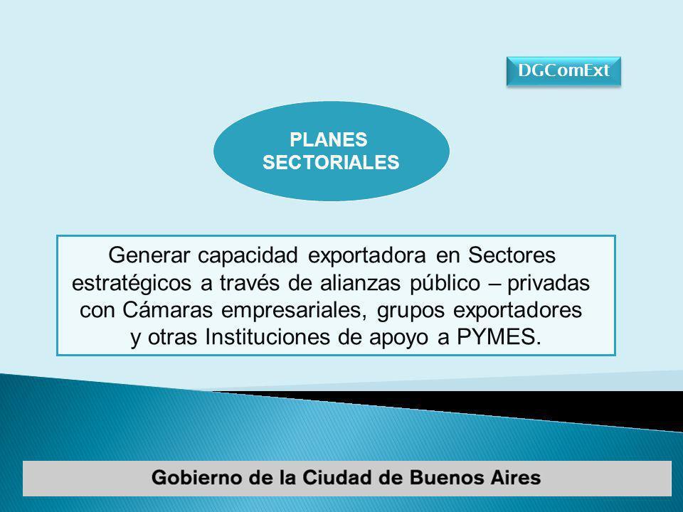 Generar capacidad exportadora en Sectores estratégicos a través de alianzas público – privadas con Cámaras empresariales, grupos exportadores y otras Instituciones de apoyo a PYMES.
