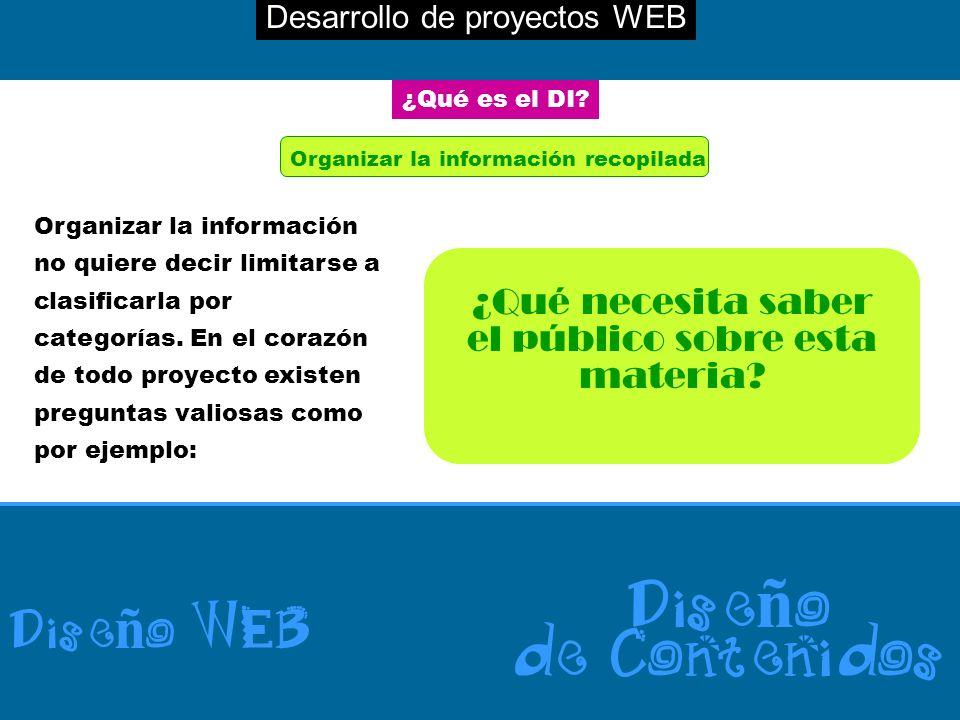Desarrollo de proyectos WEB Dise ñ o WEB Dise ñ o de Contenidos ¿Qué es el DI? Organizar la información recopilada Organizar la información no quiere
