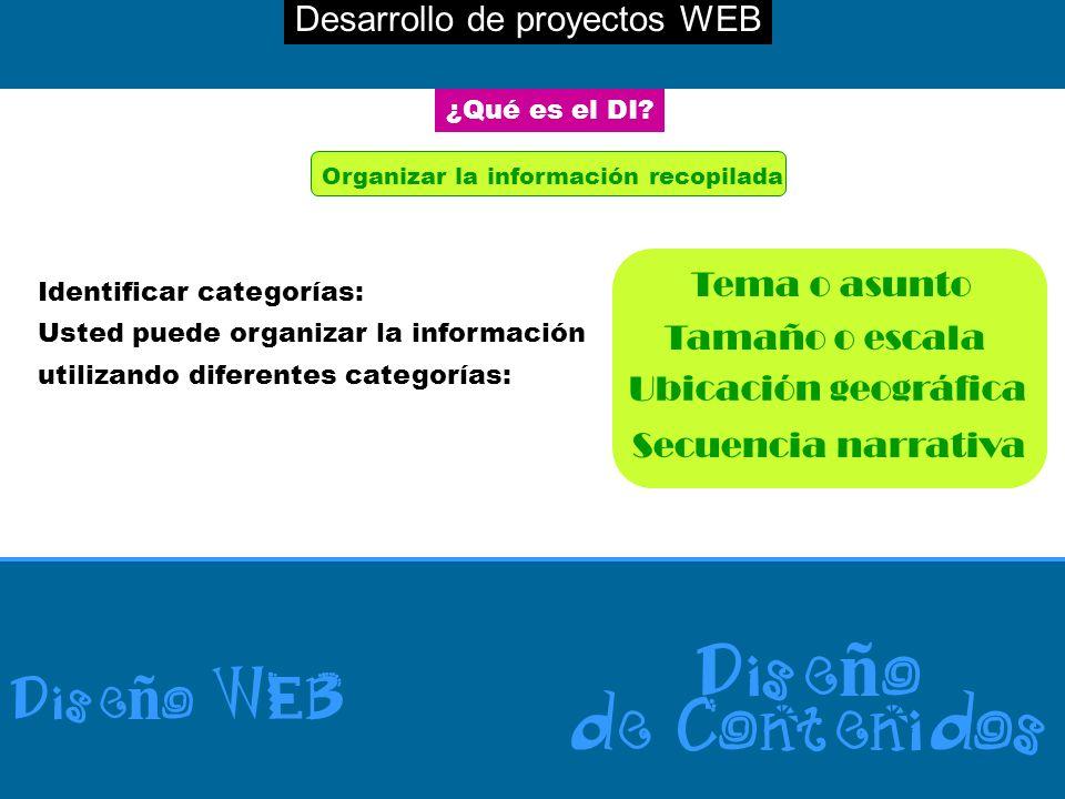 Desarrollo de proyectos WEB Dise ñ o WEB Dise ñ o de Contenidos ¿Qué es el DI? Organizar la información recopilada Identificar categorías: Usted puede