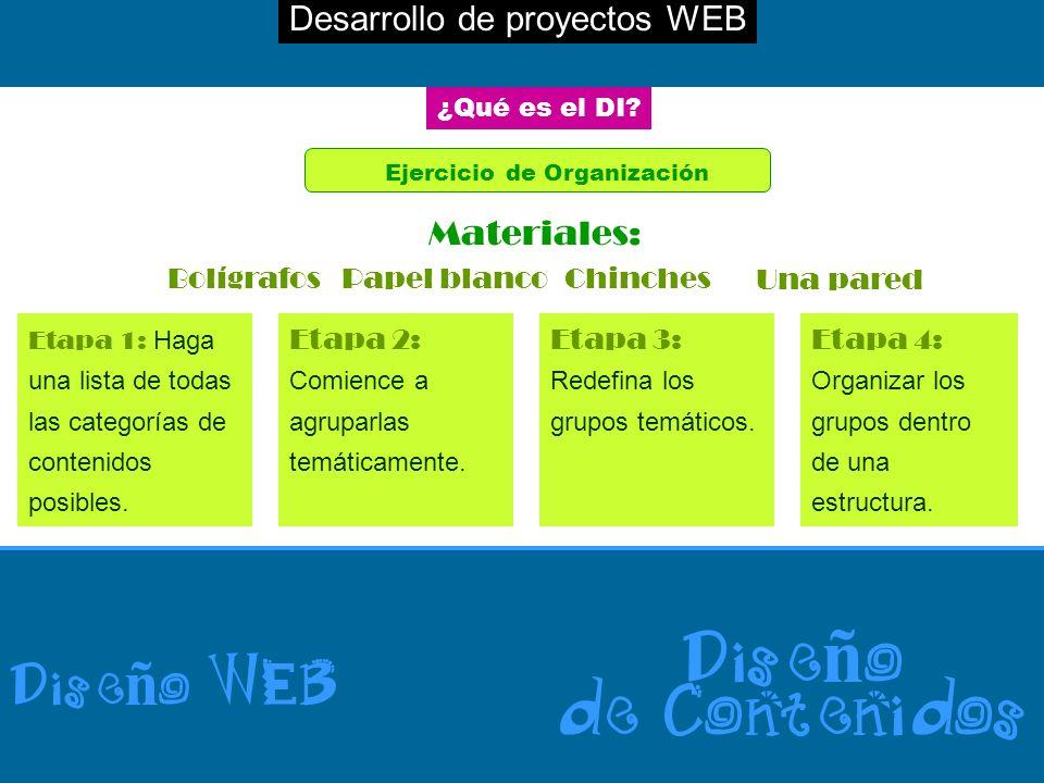 Desarrollo de proyectos WEB Dise ñ o WEB Dise ñ o de Contenidos ¿Qué es el DI? Ejercicio de Organización BolígrafosPapel blancoChinches Una pared Mate
