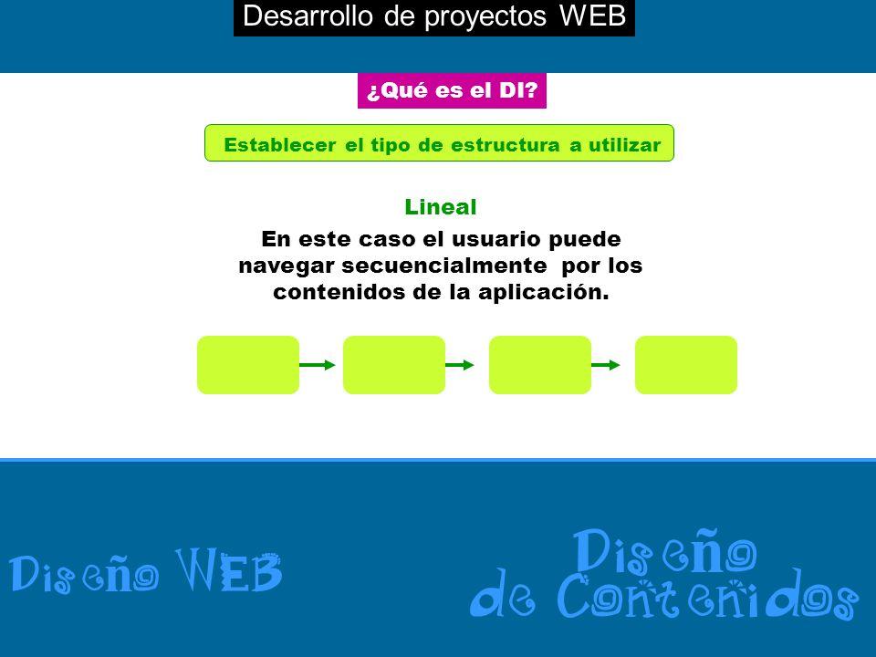 Desarrollo de proyectos WEB Dise ñ o WEB Dise ñ o de Contenidos ¿Qué es el DI? Establecer el tipo de estructura a utilizar Lineal En este caso el usua