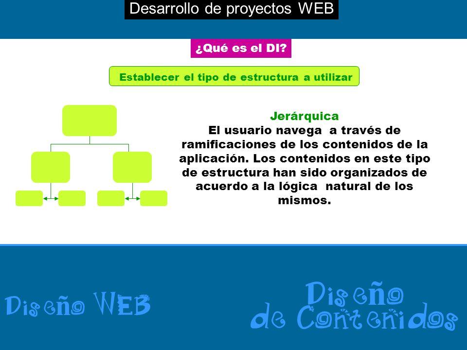 Desarrollo de proyectos WEB Dise ñ o WEB Dise ñ o de Contenidos ¿Qué es el DI? Establecer el tipo de estructura a utilizar Jerárquica El usuario naveg