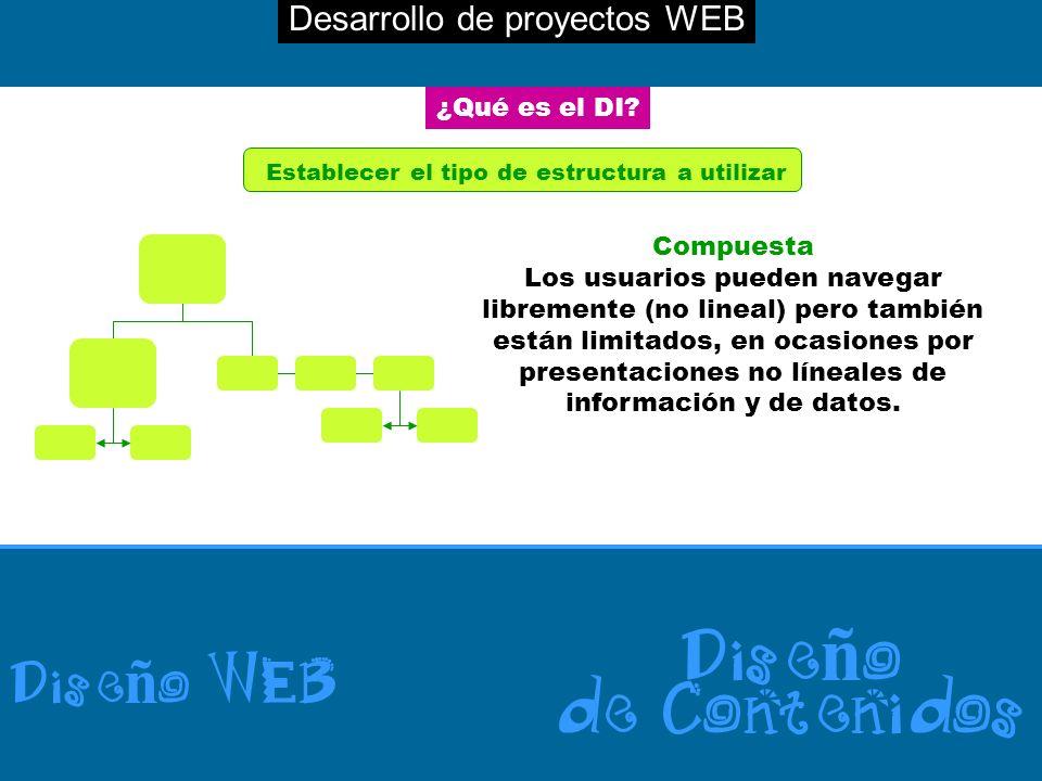 Desarrollo de proyectos WEB Dise ñ o WEB Dise ñ o de Contenidos ¿Qué es el DI? Establecer el tipo de estructura a utilizar Compuesta Los usuarios pued