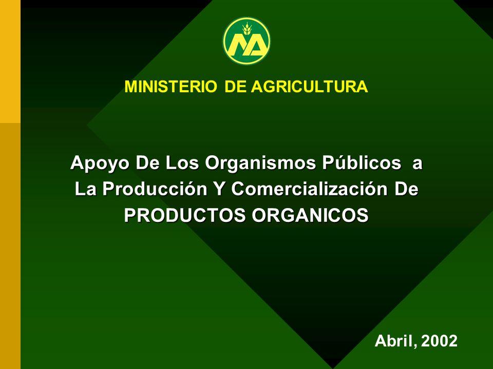 Apoyo De Los Organismos Públicos a La Producción Y Comercialización De PRODUCTOS ORGANICOS MINISTERIO DE AGRICULTURA Abril, 2002