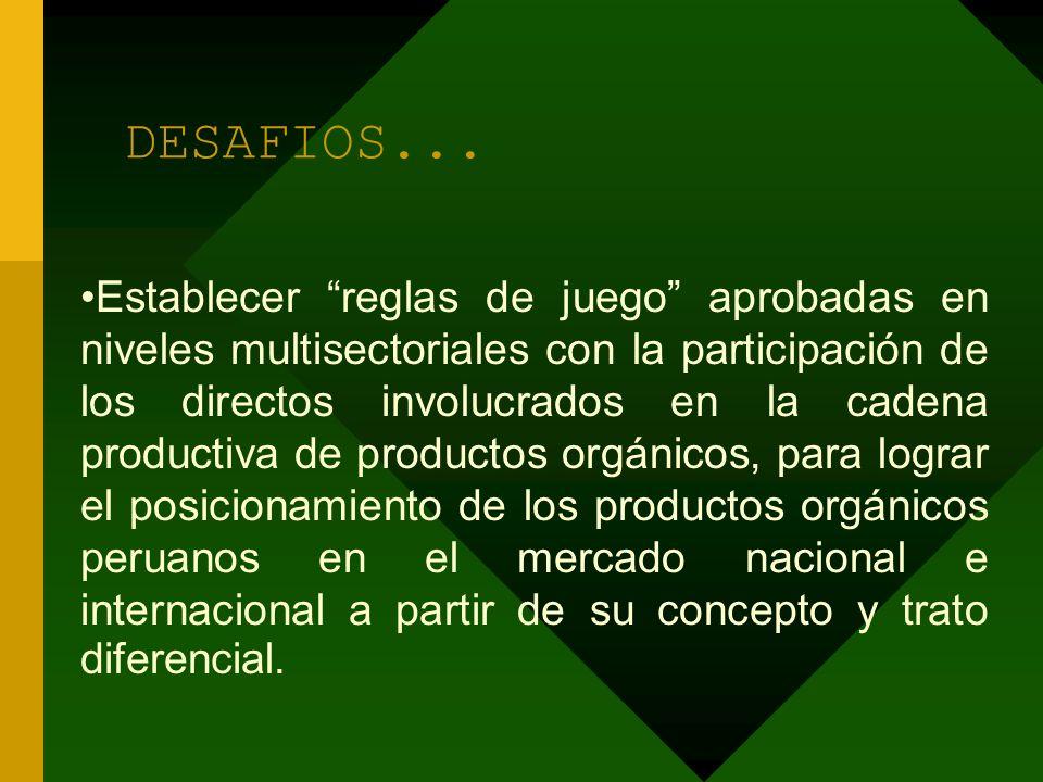DESAFIOS... Establecer reglas de juego aprobadas en niveles multisectoriales con la participación de los directos involucrados en la cadena productiva