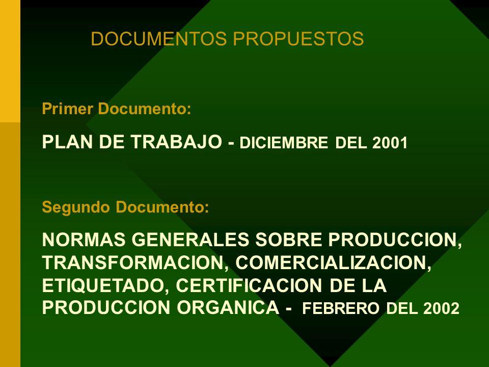 DOCUMENTOS PROPUESTOS Primer Documento: PLAN DE TRABAJO - DICIEMBRE DEL 2001 Segundo Documento: NORMAS GENERALES SOBRE PRODUCCION, TRANSFORMACION, COM