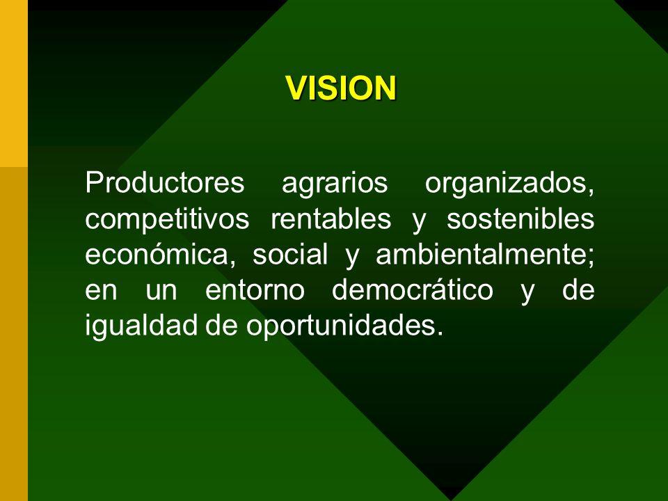 VISION Productores agrarios organizados, competitivos rentables y sostenibles económica, social y ambientalmente; en un entorno democrático y de igual