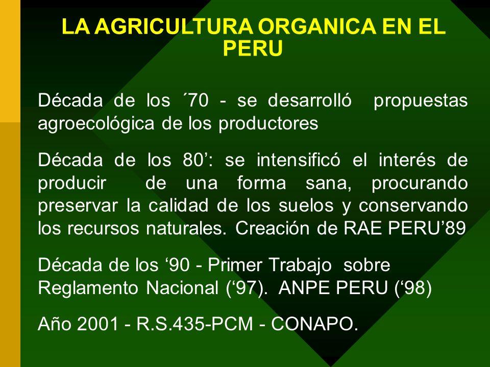 LA AGRICULTURA ORGANICA EN EL PERU Década de los ´70 - se desarrolló propuestas agroecológica de los productores Década de los 80: se intensificó el i