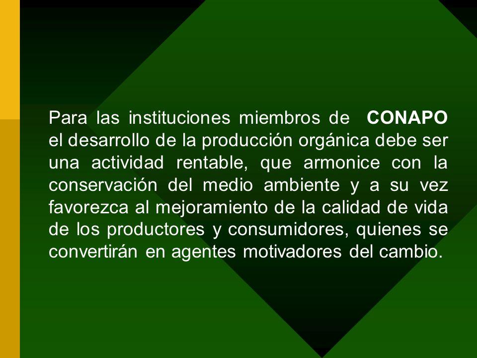 Para las instituciones miembros de CONAPO el desarrollo de la producción orgánica debe ser una actividad rentable, que armonice con la conservación de